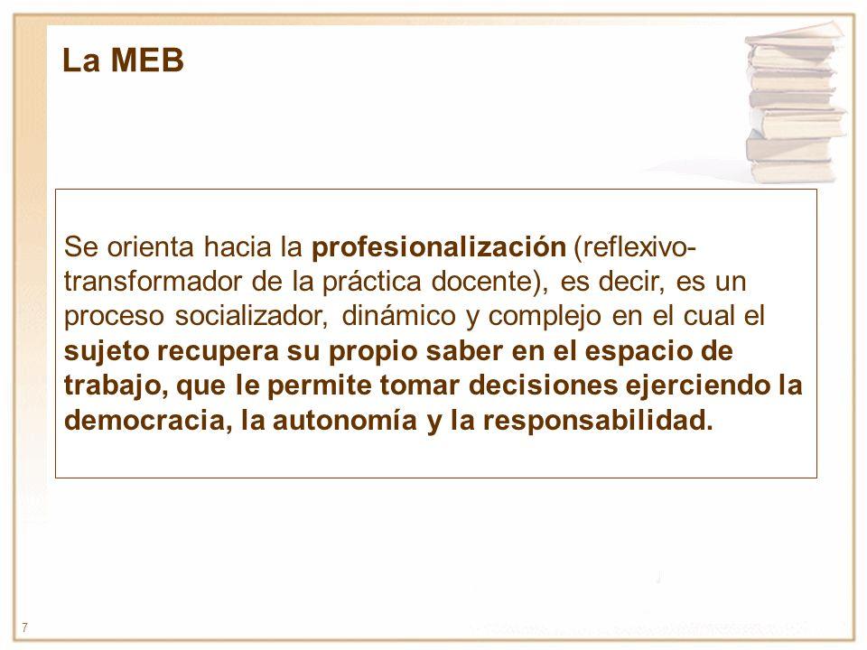 7 Se orienta hacia la profesionalización (reflexivo- transformador de la práctica docente), es decir, es un proceso socializador, dinámico y complejo
