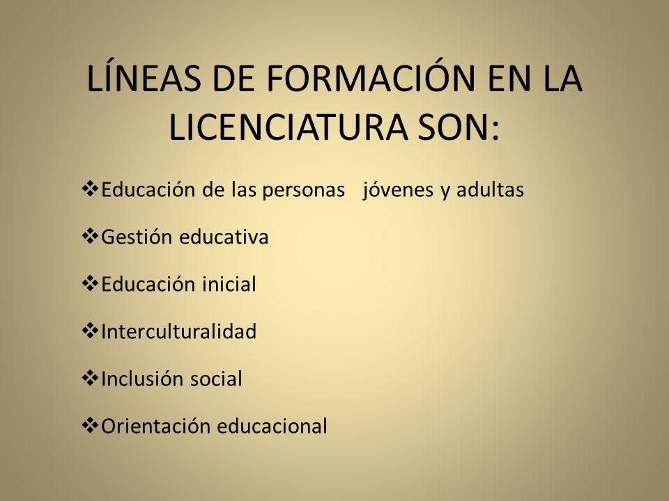 LÍNEAS DE FORMACIÓN EN LA LICENCIATURA SON: Educación de las personas jóvenes y adultas Gestión educativa Educación inicial Interculturalidad Inclusió