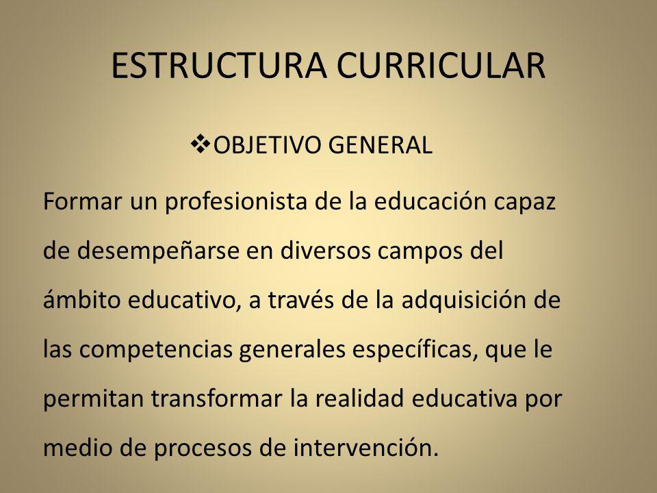 ESTRUCTURA CURRICULAR OBJETIVO GENERAL Formar un profesionista de la educación capaz de desempeñarse en diversos campos del ámbito educativo, a través
