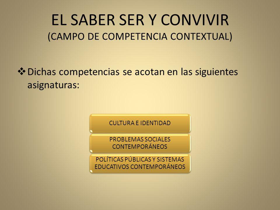EL SABER SER Y CONVIVIR (CAMPO DE COMPETENCIA CONTEXTUAL) Dichas competencias se acotan en las siguientes asignaturas: CULTURA E IDENTIDAD PROBLEMAS S