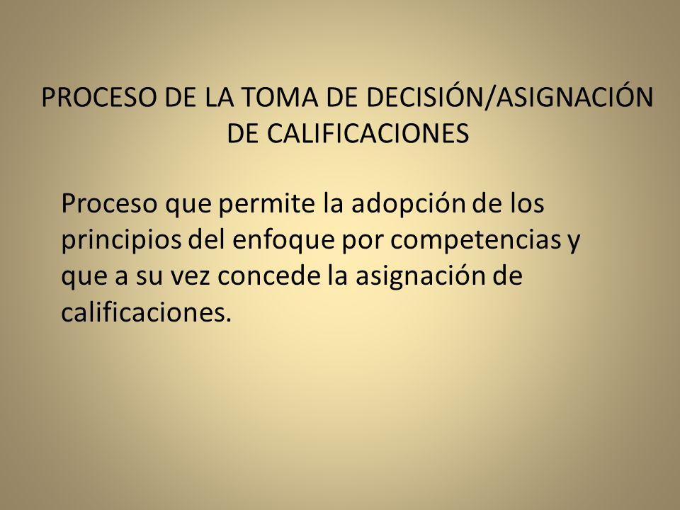 Proceso que permite la adopción de los principios del enfoque por competencias y que a su vez concede la asignación de calificaciones. PROCESO DE LA T