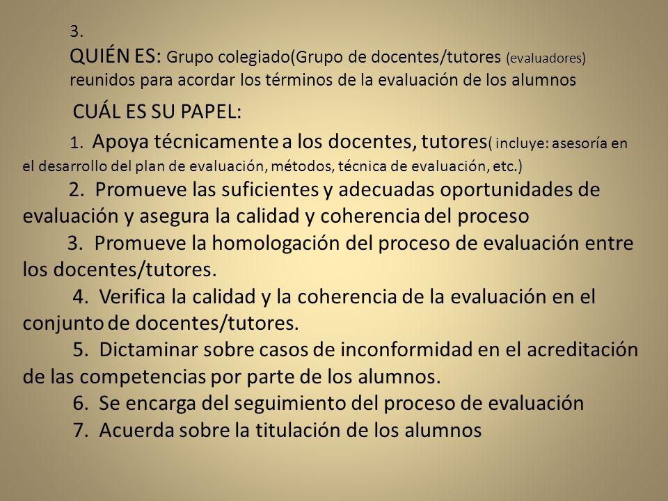 CUÁL ES SU PAPEL: 1. Apoya técnicamente a los docentes, tutores ( incluye: asesoría en el desarrollo del plan de evaluación, métodos, técnica de evalu