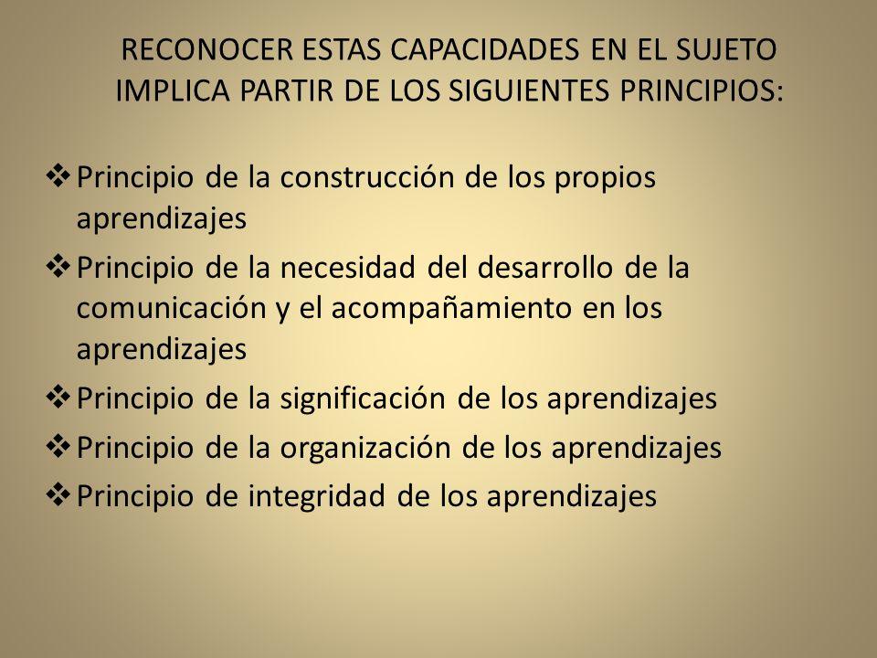 RECONOCER ESTAS CAPACIDADES EN EL SUJETO IMPLICA PARTIR DE LOS SIGUIENTES PRINCIPIOS: Principio de la construcción de los propios aprendizajes Princip