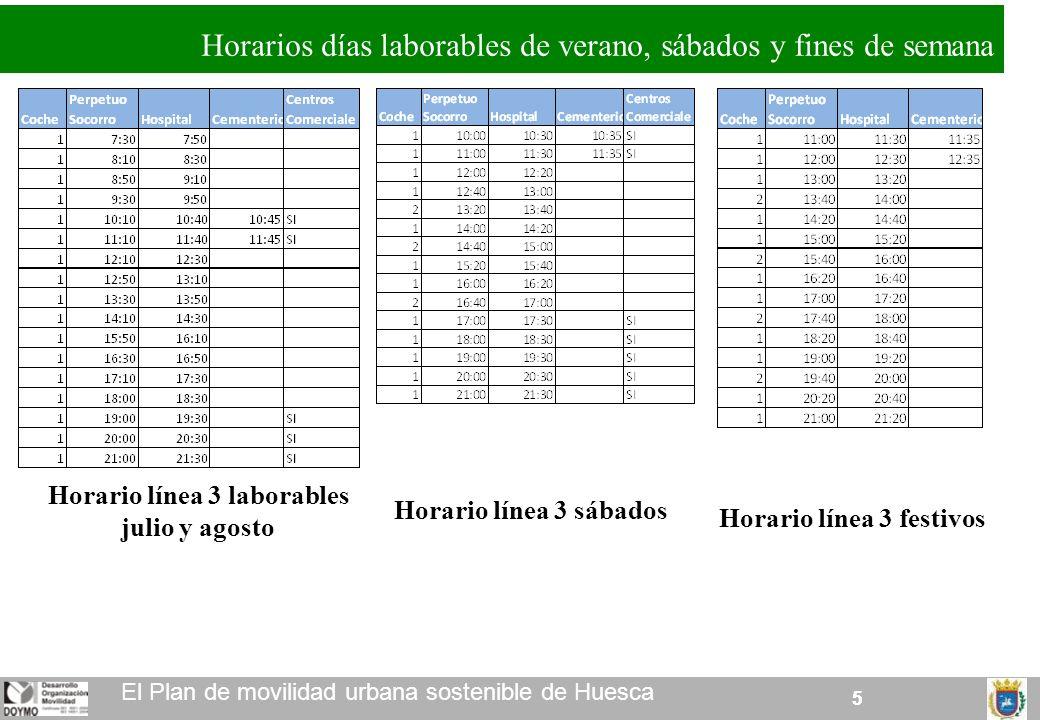 55 El Plan de movilidad urbana sostenible de Huesca Horarios días laborables de verano, sábados y fines de semana Horario línea 3 laborables julio y agosto Horario línea 3 sábados Horario línea 3 festivos