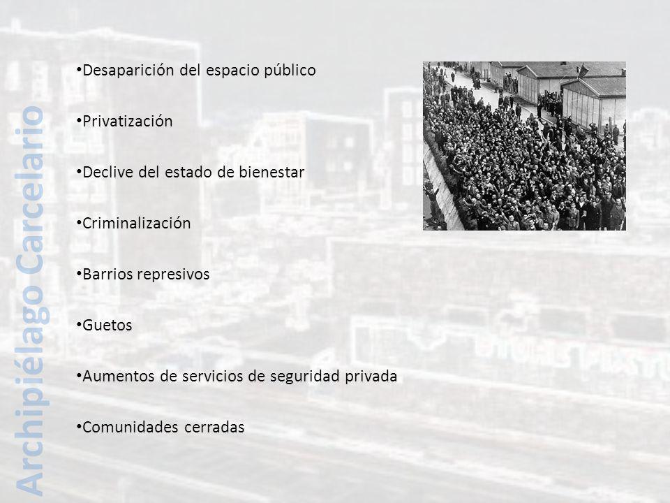 Desaparición del espacio público Privatización Declive del estado de bienestar Criminalización Barrios represivos Guetos Aumentos de servicios de seguridad privada Comunidades cerradas Archipiélago Carcelario