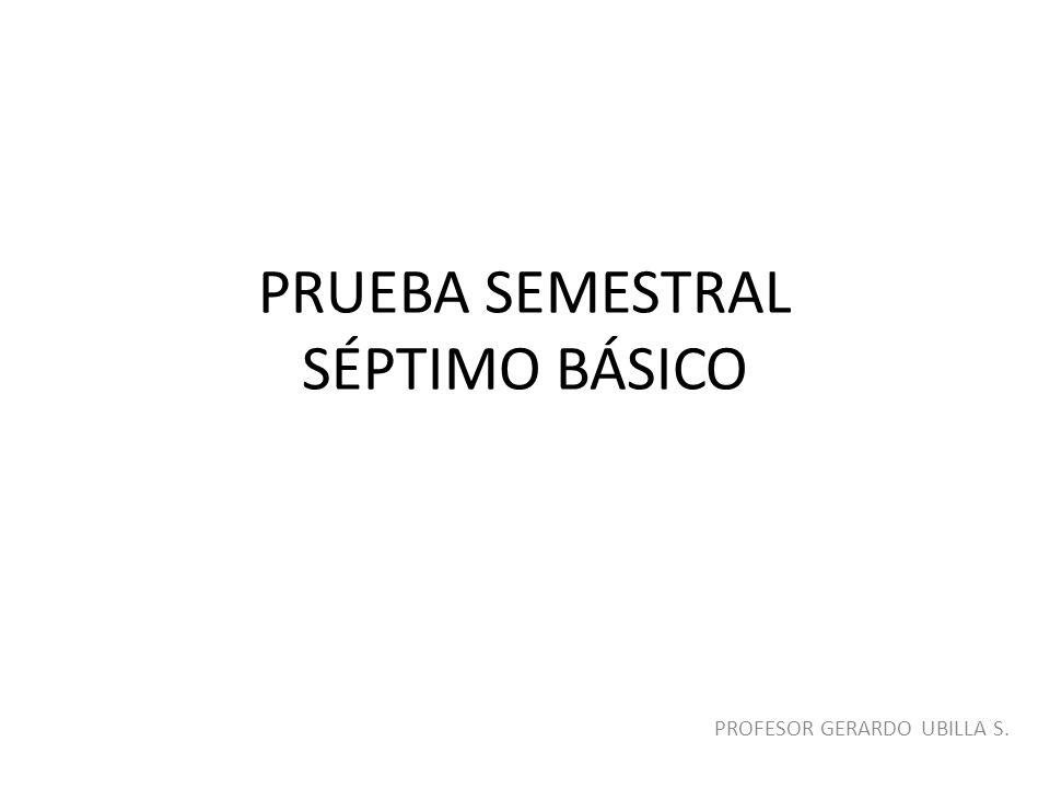 PRUEBA SEMESTRAL SÉPTIMO BÁSICO PROFESOR GERARDO UBILLA S.