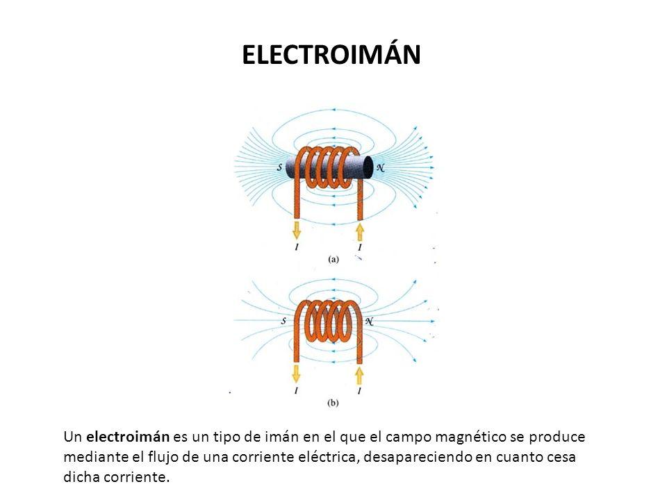Un electroimán es un tipo de imán en el que el campo magnético se produce mediante el flujo de una corriente eléctrica, desapareciendo en cuanto cesa