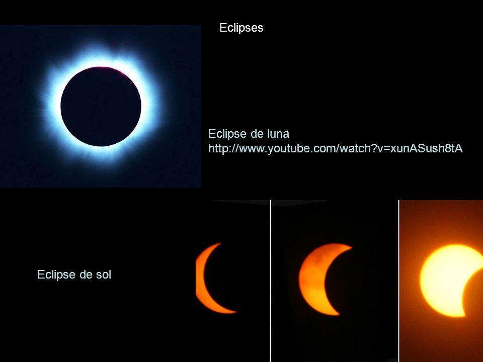 Eclipse de luna http://www.youtube.com/watch?v=xunASush8tA Eclipses Eclipse de sol