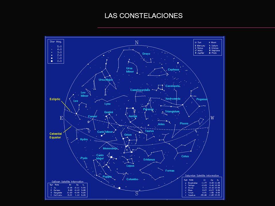 LAS CONSTELACIONES Una constelación, en astronomía, es una agrupación de estrellas, cuya posición en el cielo nocturno es aparentemente aproximada y p