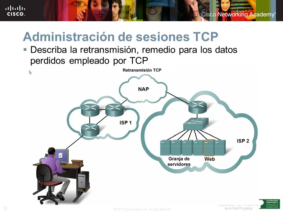 15 © 2007 Cisco Systems, Inc. All rights reserved. Traducido en apoyo a la capacitación de Instructores de la Red Proydesa Administración de sesiones