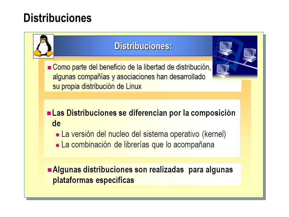 Distribuciones Distribuciones:Distribuciones: Como parte del beneficio de la libertad de distribución, Como parte del beneficio de la libertad de dist
