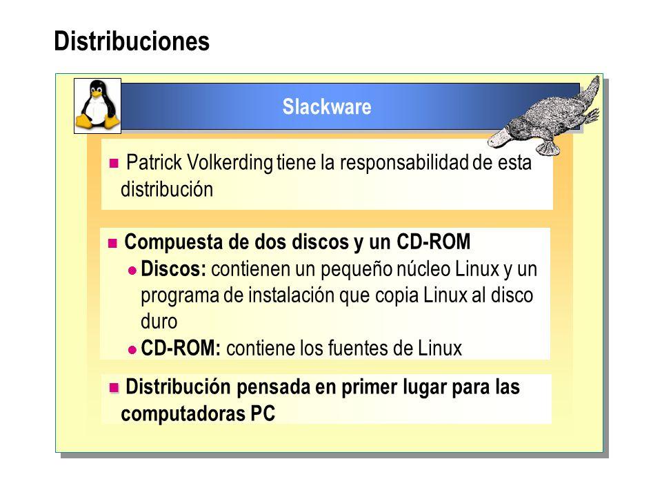 Distribuciones Slackware Patrick Volkerding tiene la responsabilidad de esta distribución Compuesta de dos discos y un CD-ROM Discos: contienen un peq