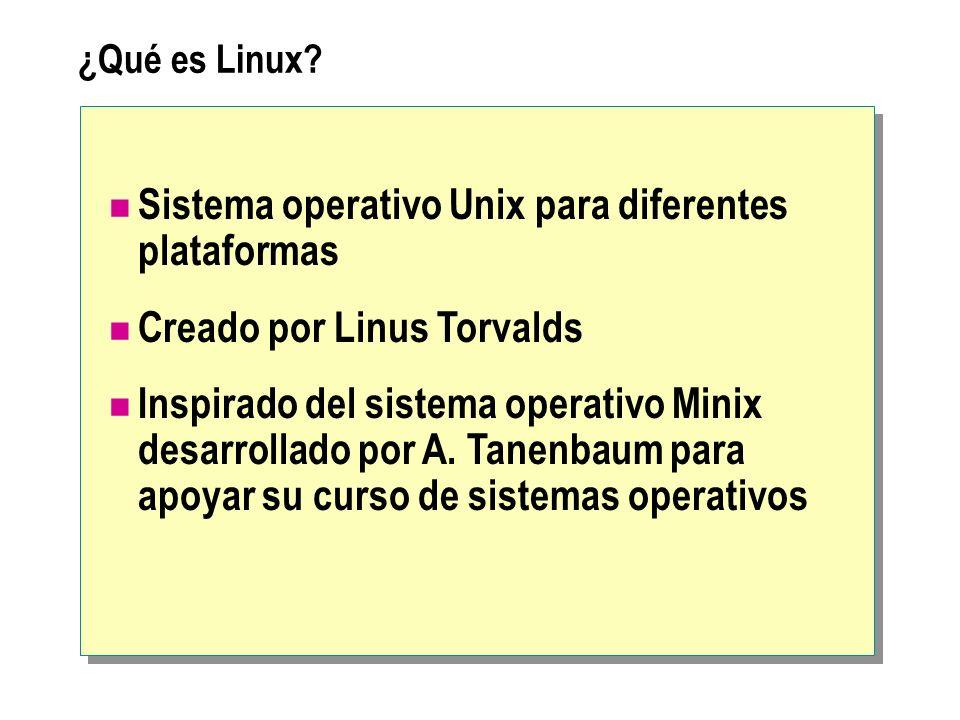 ¿Qué es Linux? Sistema operativo Unix para diferentes plataformas Creado por Linus Torvalds Inspirado del sistema operativo Minix desarrollado por A.