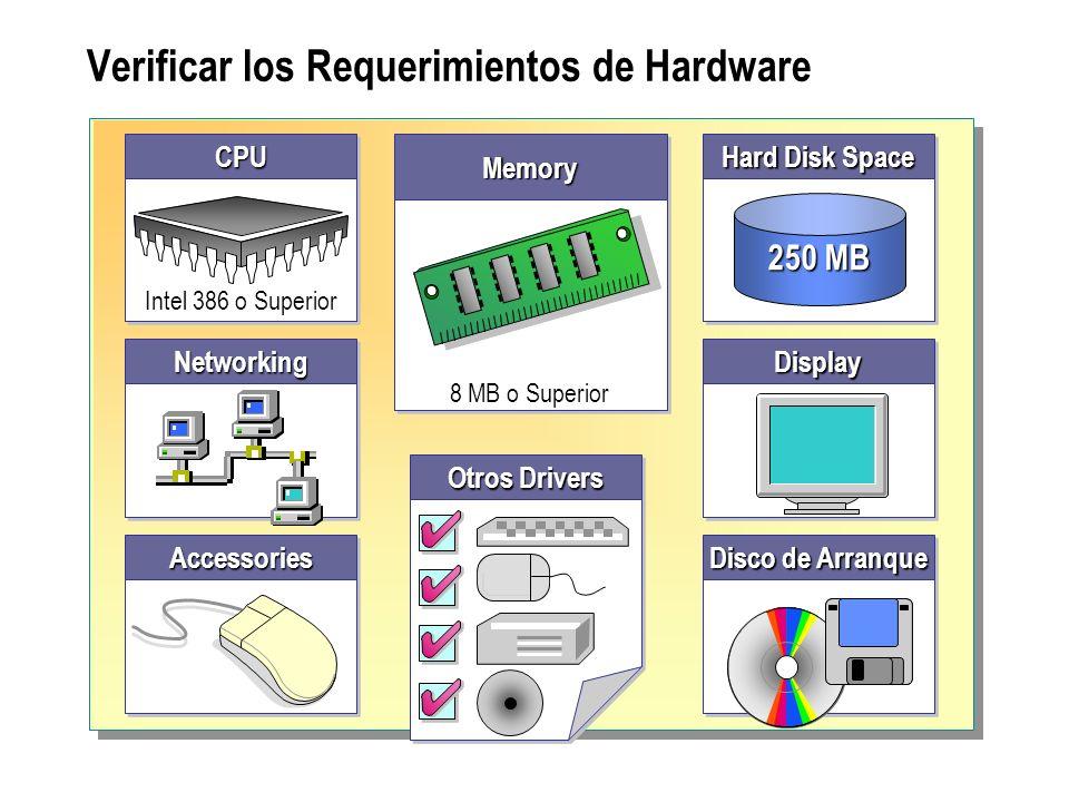 Verificar los Requerimientos de HardwareCPUCPU Intel 386 o Superior Hard Disk Space 250 MB DisplayDisplayNetworkingNetworking AccessoriesAccessories D