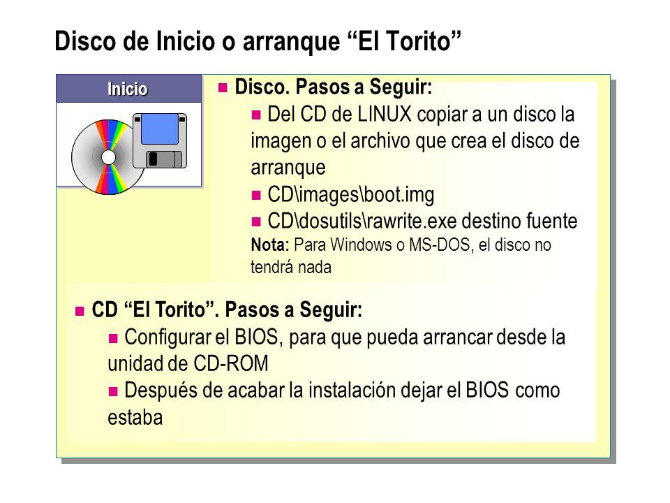 Disco de Inicio o arranque El Torito Disco. Pasos a Seguir: Del CD de LINUX copiar a un disco la imagen o el archivo que crea el disco de arranque CD\