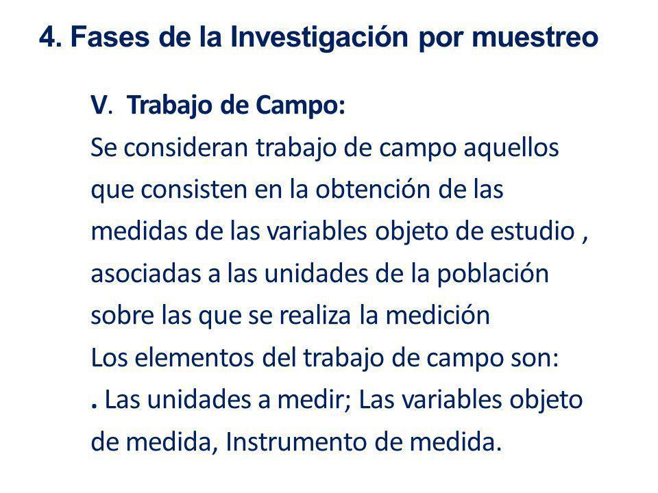 V. Trabajo de Campo: Se consideran trabajo de campo aquellos que consisten en la obtención de las medidas de las variables objeto de estudio, asociada