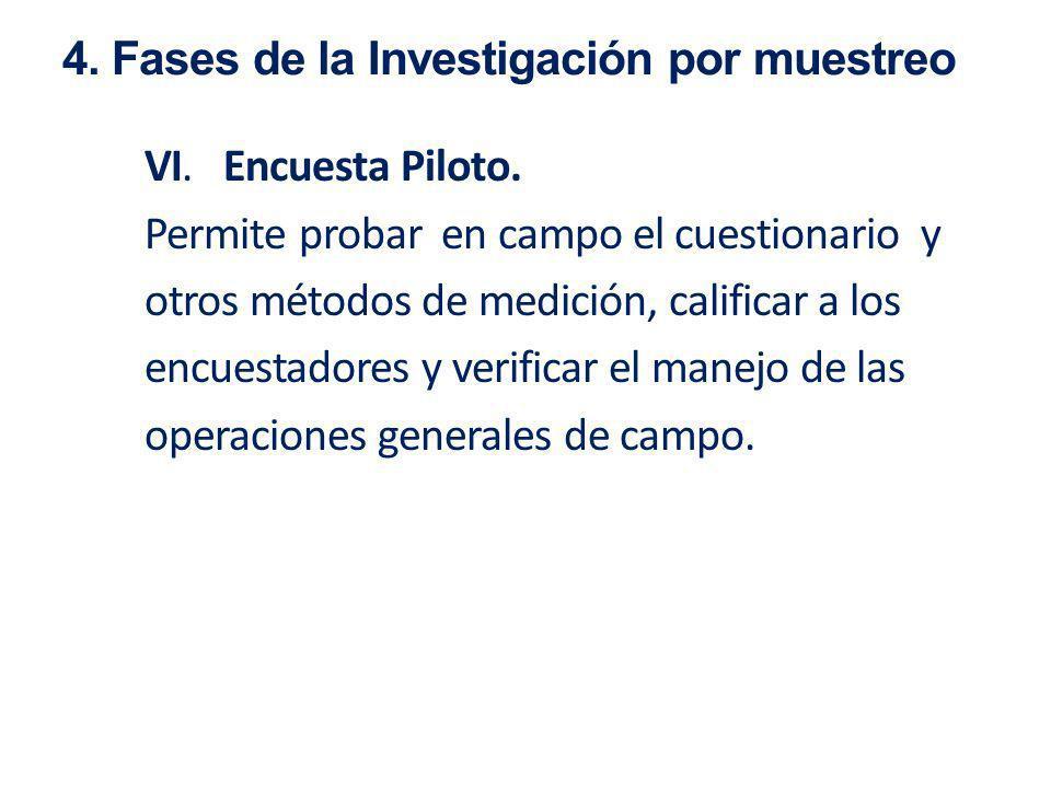 VI. Encuesta Piloto. Permite probar en campo el cuestionario y otros métodos de medición, calificar a los encuestadores y verificar el manejo de las o