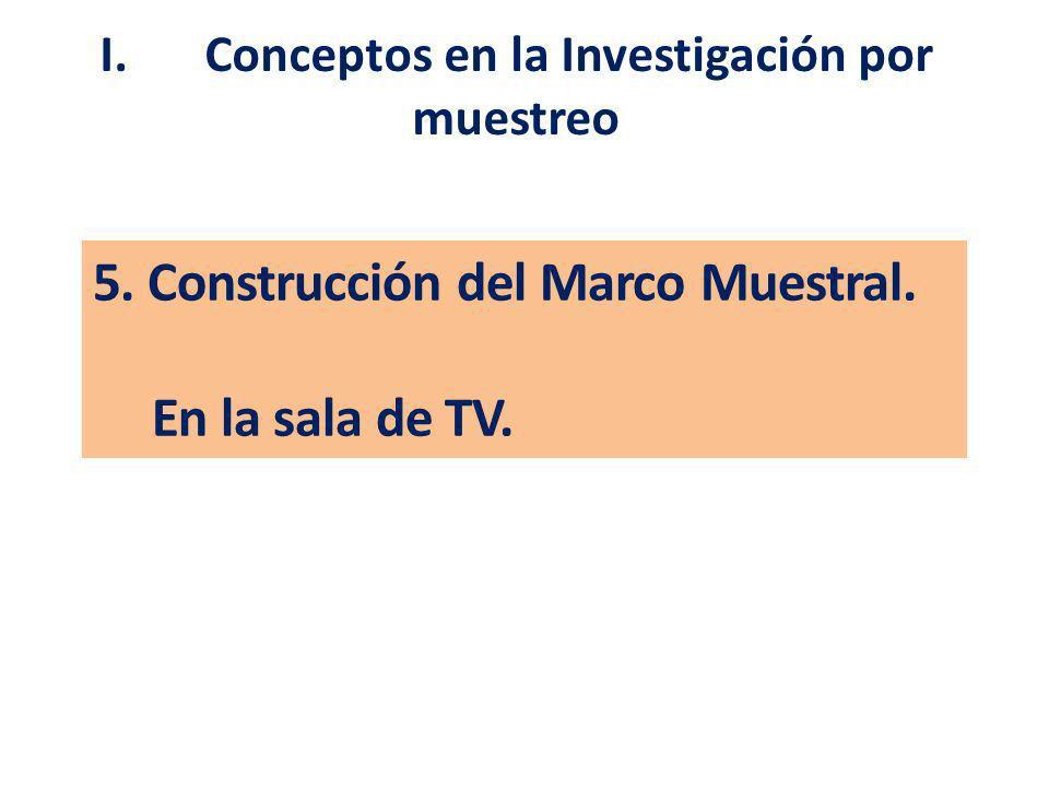 5. Construcción del Marco Muestral. En la sala de TV. I. Conceptos en la Investigación por muestreo