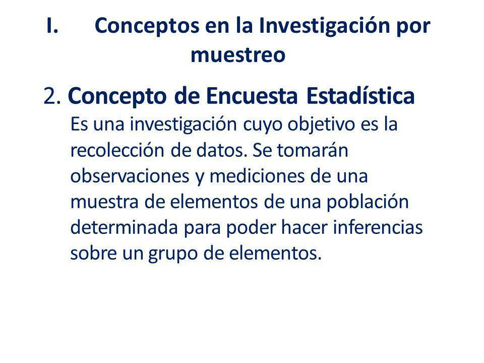 2. Concepto de Encuesta Estadística Es una investigación cuyo objetivo es la recolección de datos. Se tomarán observaciones y mediciones de una muestr