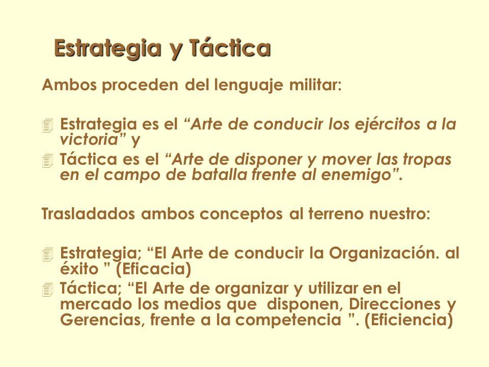 Conceptos y Definiciones 4 Estrategia y Táctica 4 Eficacia y Eficiencia 4 Misión 4 Objetivos 4 Políticas 4 Escenario