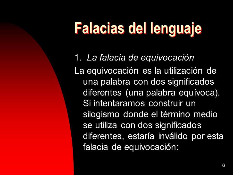 6 Falacias del lenguaje 1. La falacia de equivocación La equivocación es la utilización de una palabra con dos significados diferentes (una palabra eq