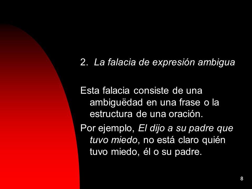 8 2. La falacia de expresión ambigua Esta falacia consiste de una ambiguëdad en una frase o la estructura de una oración. Por ejemplo, El dijo a su pa