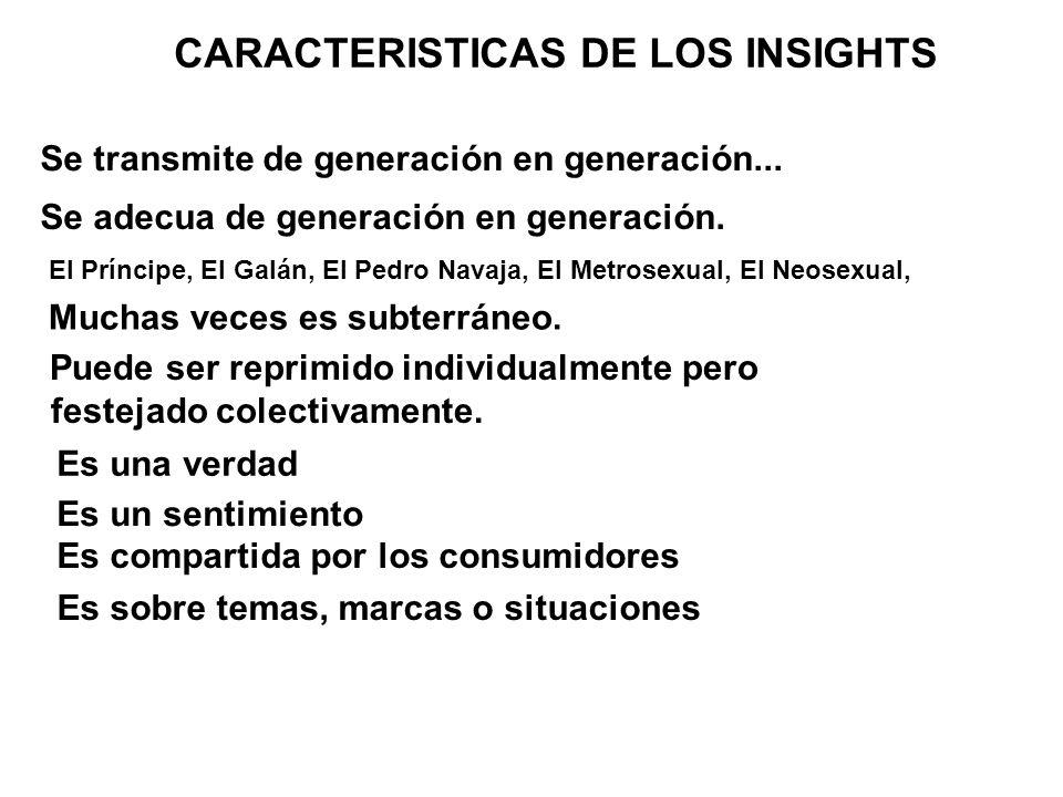 Se transmite de generación en generación... CARACTERISTICAS DE LOS INSIGHTS Se adecua de generación en generación. El Príncipe, El Galán, El Pedro Nav