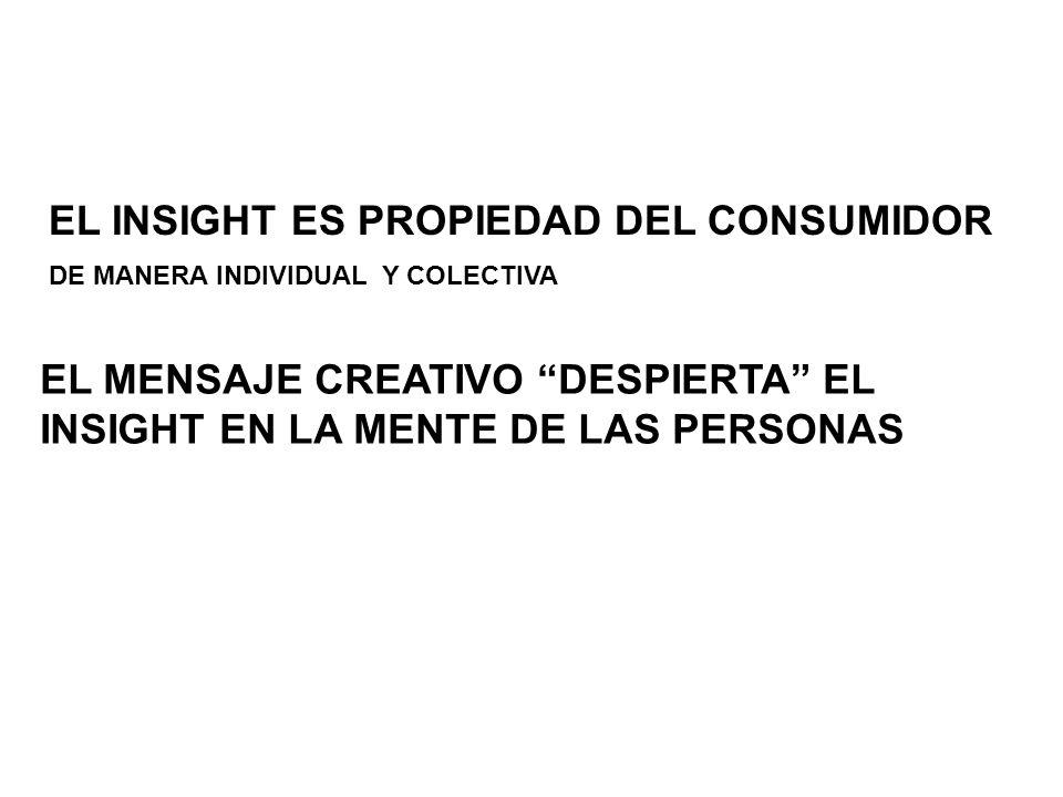 EL INSIGHT ES PROPIEDAD DEL CONSUMIDOR DE MANERA INDIVIDUAL Y COLECTIVA EL MENSAJE CREATIVO DESPIERTA EL INSIGHT EN LA MENTE DE LAS PERSONAS