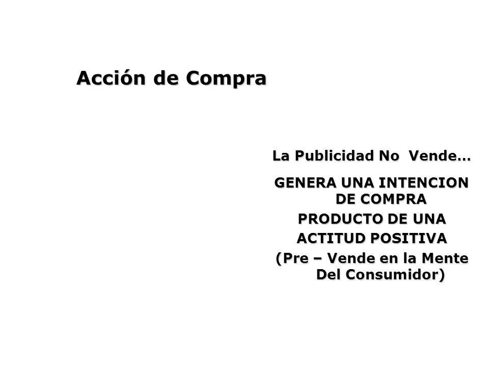 Acción de Compra GENERA UNA INTENCION DE COMPRA PRODUCTO DE UNA ACTITUD POSITIVA (Pre – Vende en la Mente Del Consumidor) La Publicidad No Vende…