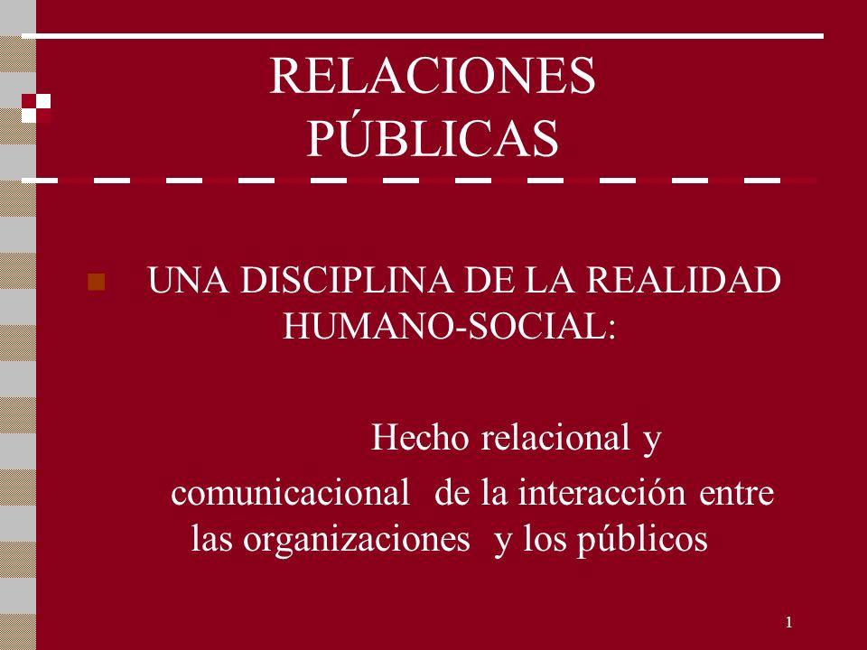 1 RELACIONES PÚBLICAS UNA DISCIPLINA DE LA REALIDAD HUMANO-SOCIAL: Hecho relacional y comunicacional de la interacción entre las organizaciones y los