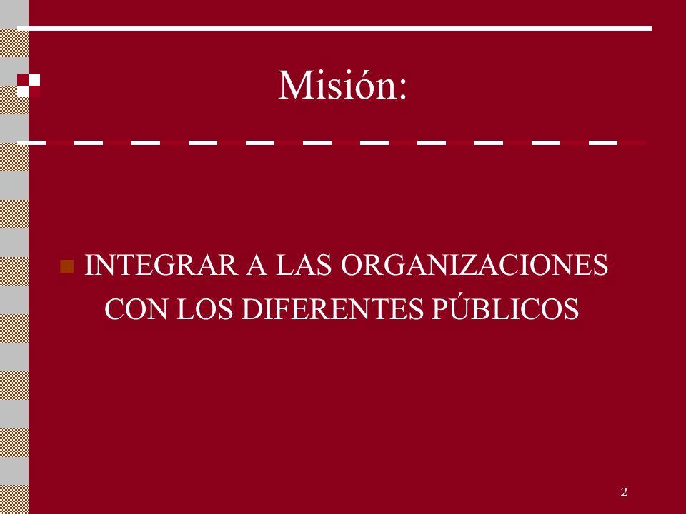 2 Misión: INTEGRAR A LAS ORGANIZACIONES CON LOS DIFERENTES PÚBLICOS