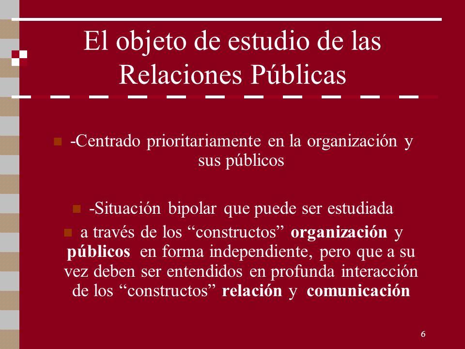 6 El objeto de estudio de las Relaciones Públicas -Centrado prioritariamente en la organización y sus públicos -Situación bipolar que puede ser estudi