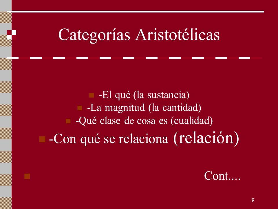 9 Categorías Aristotélicas -El qué (la sustancia) -La magnitud (la cantidad) -Qué clase de cosa es (cualidad) -Con qué se relaciona (relación) Cont...