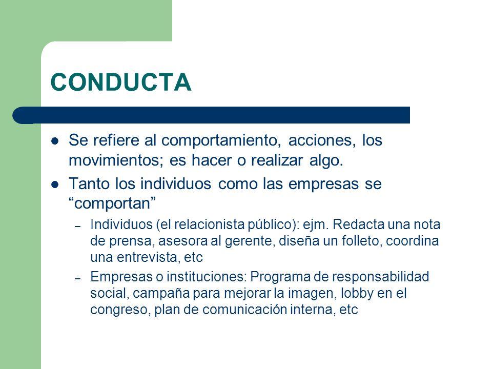 CONDUCTA Se refiere al comportamiento, acciones, los movimientos; es hacer o realizar algo. Tanto los individuos como las empresas se comportan – Indi