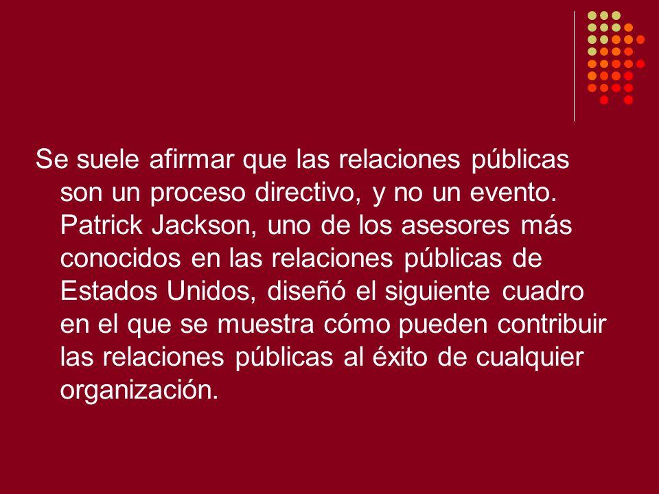 Se suele afirmar que las relaciones públicas son un proceso directivo, y no un evento. Patrick Jackson, uno de los asesores más conocidos en las relac