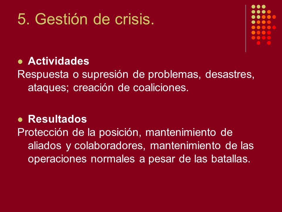 5. Gestión de crisis. Actividades Respuesta o supresión de problemas, desastres, ataques; creación de coaliciones. Resultados Protección de la posició