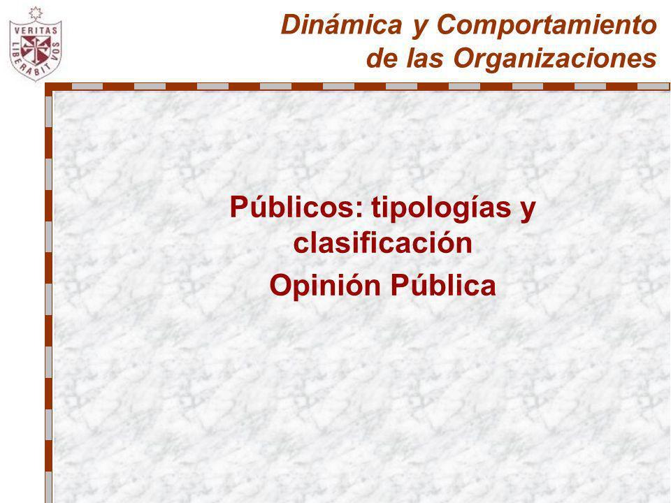 Dinámica y Comportamiento de las Organizaciones Públicos: tipologías y clasificación Opinión Pública