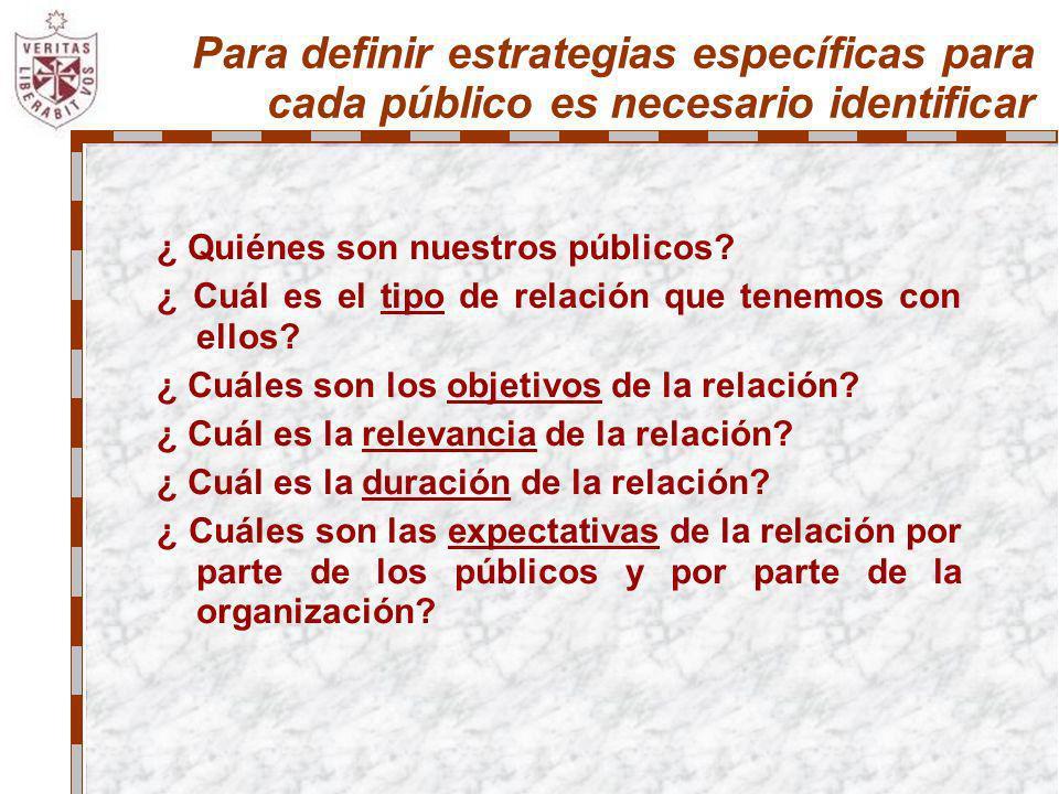 Para definir estrategias específicas para cada público es necesario identificar ¿ Quiénes son nuestros públicos? ¿ Cuál es el tipo de relación que ten