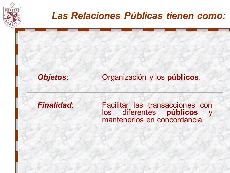 Las Relaciones Públicas tienen como: Objetos:Organización y los públicos. Finalidad:Facilitar las transacciones con los diferentes públicos y mantener