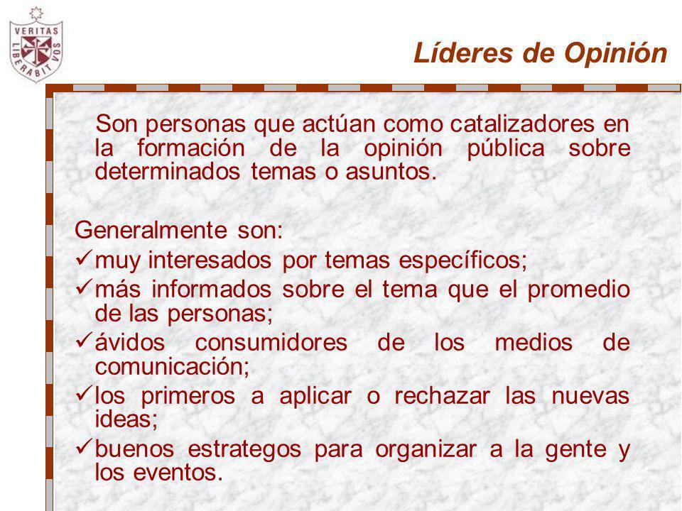 Líderes de Opinión Son personas que actúan como catalizadores en la formación de la opinión pública sobre determinados temas o asuntos. Generalmente s