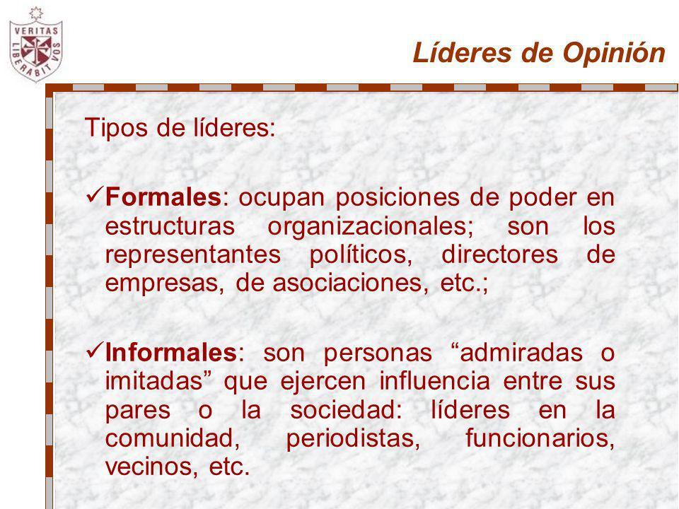 Líderes de Opinión Tipos de líderes: Formales: ocupan posiciones de poder en estructuras organizacionales; son los representantes políticos, directore