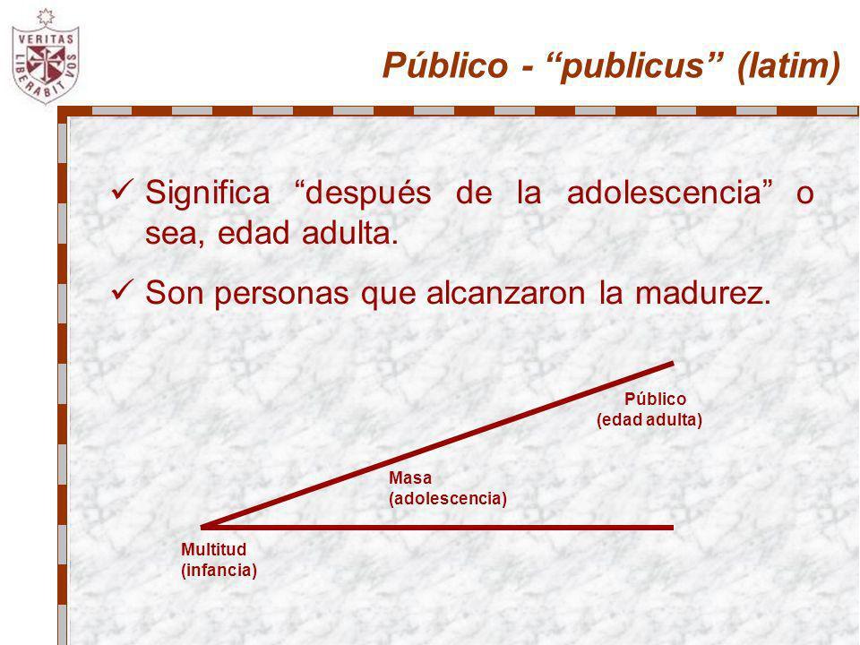 Público - publicus (latim) Significa después de la adolescencia o sea, edad adulta. Son personas que alcanzaron la madurez. Multitud (infancia) Públic