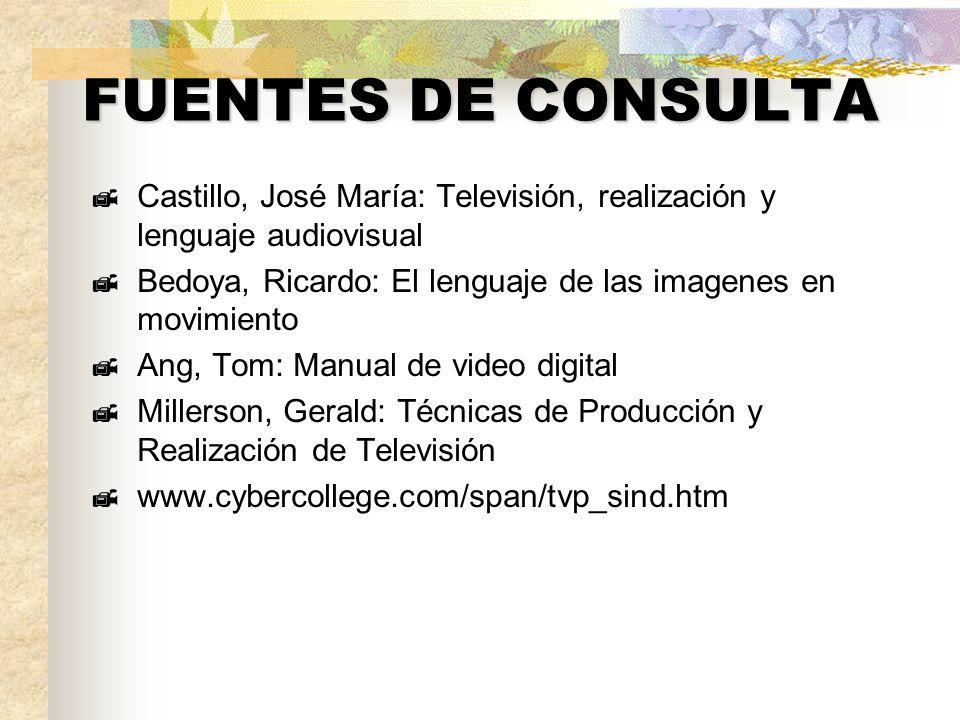 FUENTES DE CONSULTA Castillo, José María: Televisión, realización y lenguaje audiovisual Bedoya, Ricardo: El lenguaje de las imagenes en movimiento An