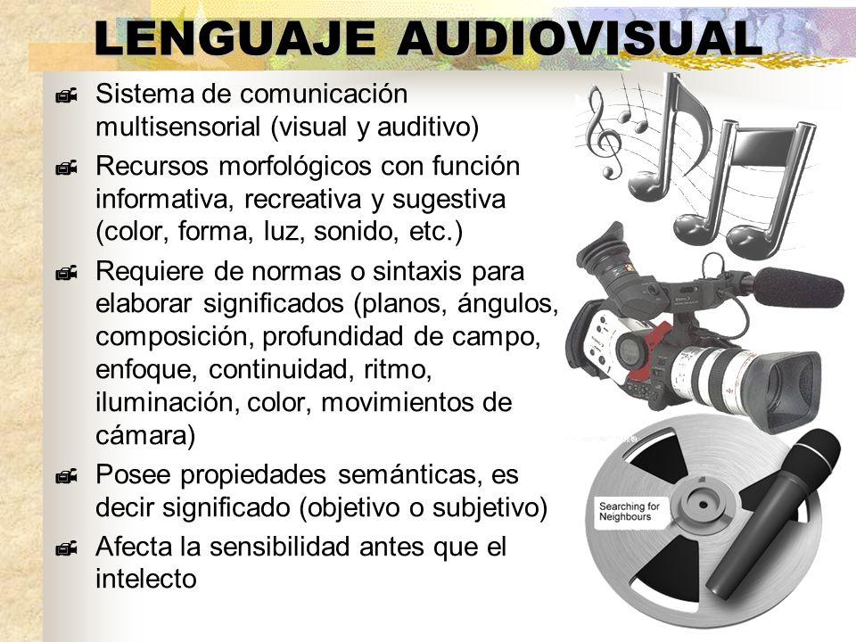 LENGUAJE AUDIOVISUAL Sistema de comunicación multisensorial (visual y auditivo) Recursos morfológicos con función informativa, recreativa y sugestiva