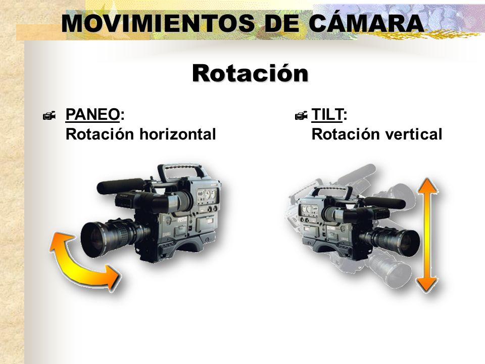 MOVIMIENTOS DE CÁMARA PANEO: Rotación horizontal TILT: Rotación vertical Rotación