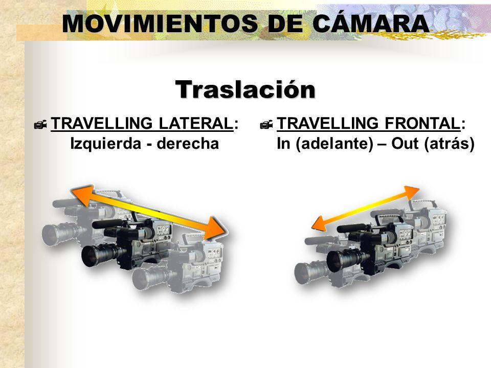 MOVIMIENTOS DE CÁMARA TRAVELLING LATERAL: Izquierda - derecha Traslación TRAVELLING FRONTAL: In (adelante) – Out (atrás)