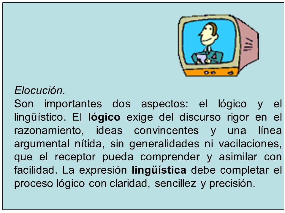 11 Elocución. Son importantes dos aspectos: el lógico y el lingüístico. El lógico exige del discurso rigor en el razonamiento, ideas convincentes y un