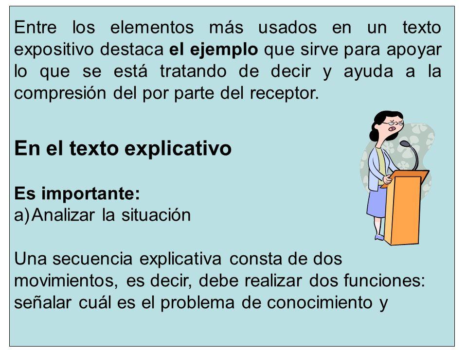 3 En el texto explicativo Es importante: a)Analizar la situación Una secuencia explicativa consta de dos movimientos, es decir, debe realizar dos func