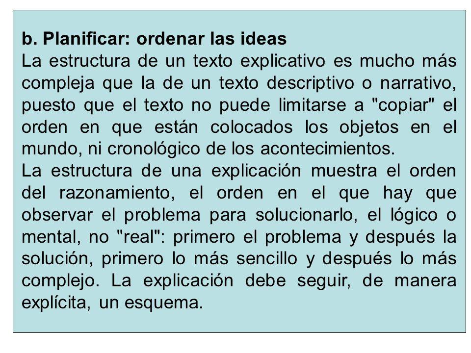 5 b. Planificar: ordenar las ideas La estructura de un texto explicativo es mucho más compleja que la de un texto descriptivo o narrativo, puesto que