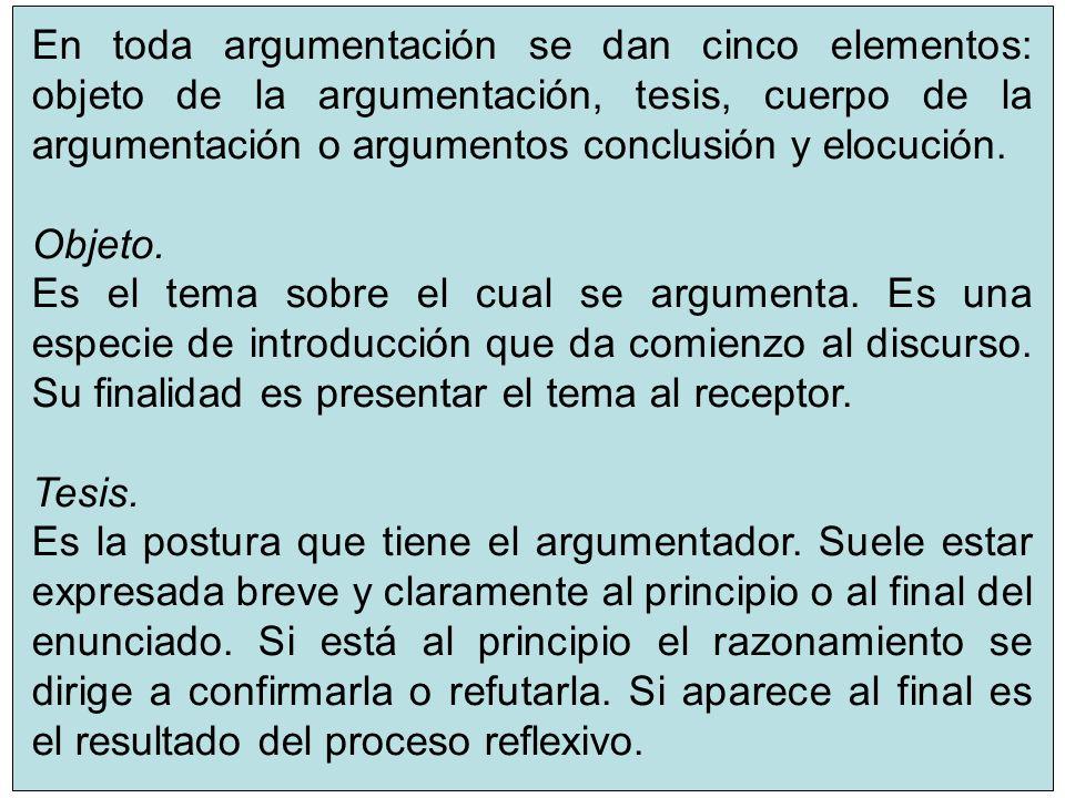 8 En toda argumentación se dan cinco elementos: objeto de la argumentación, tesis, cuerpo de la argumentación o argumentos conclusión y elocución. Obj
